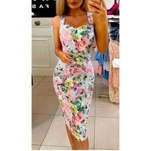 Floral Print Dress Party Gown Pencil Bodyc…